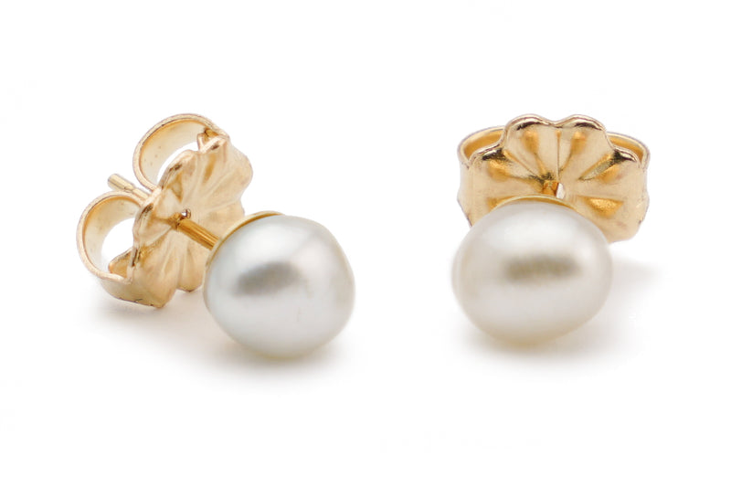Oval White Tahitian Keshi Pearl Stud Earrings