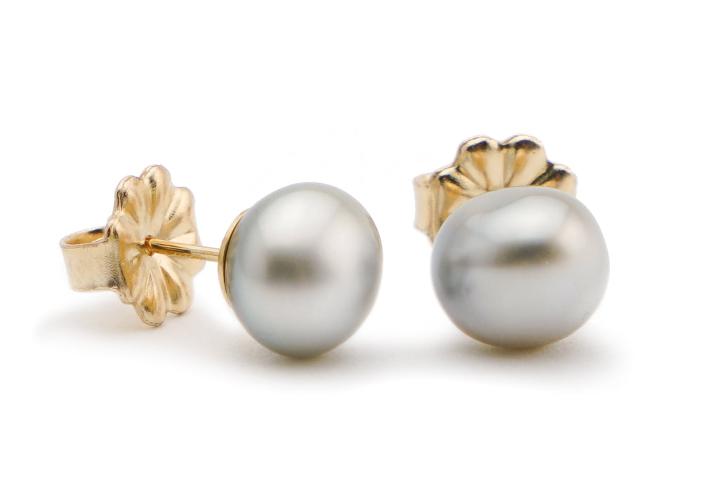 Light silver perfect Tahitian keshi pearl earrings
