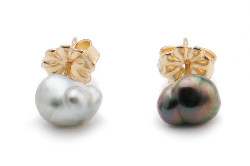 Back and white Tahitian keshi pearl stud earrings
