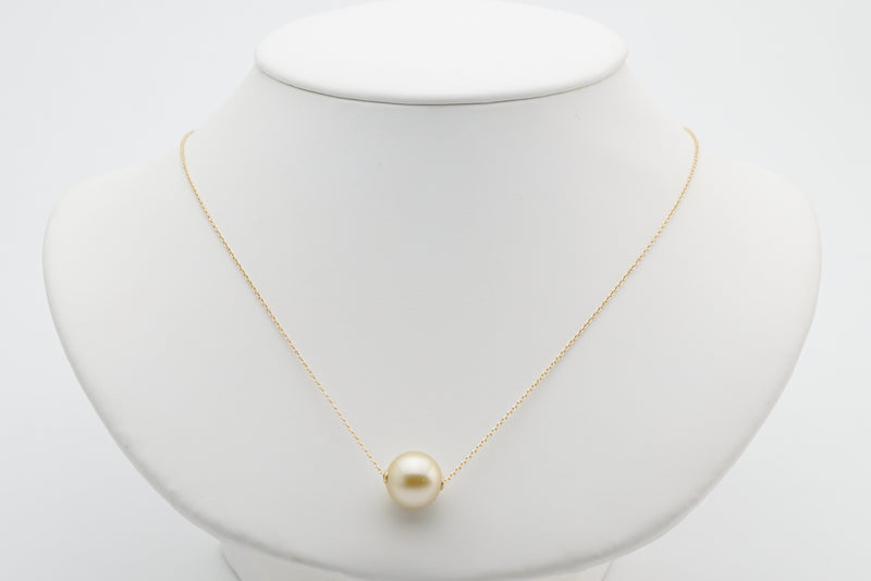 Golden white Tahitian solitaire necklace 12.5mm round