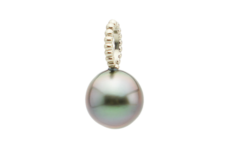 Opalescent pink blue Tahitian pearl pendant white gold