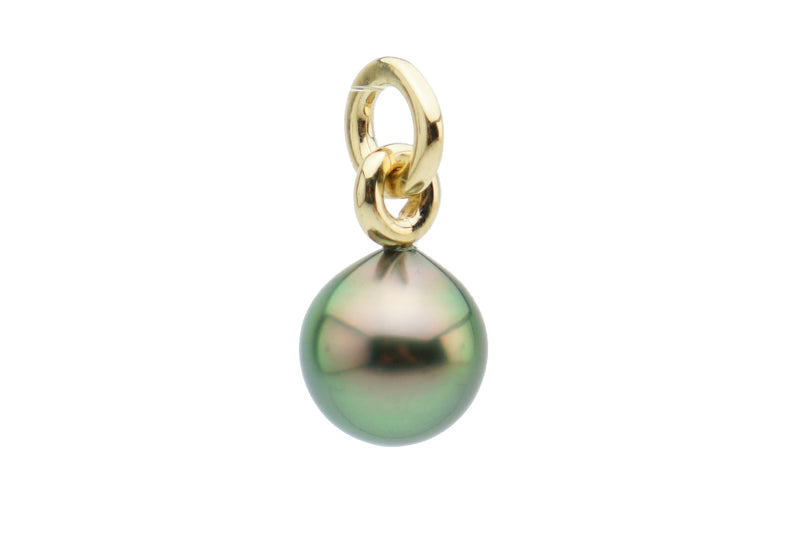 Colorful peacock Tahitian pearl drop pendant