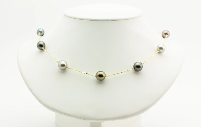 Marvelous Multi-Color Tin Cup Tahitian Pearl Necklace