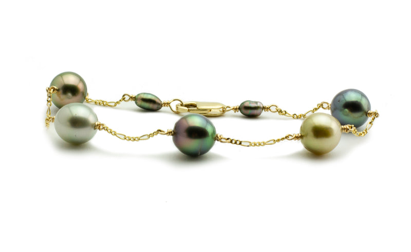 Flashy Multi-Colorful Tahitian Pearl Tin Cup Bracelet