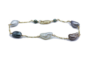 Flashy Multi-Color Tahitian Keshi Pearl Tin Cup Bracelet