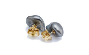 Large Tahitian keshi pearl stud earrings