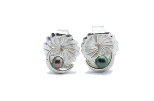 Tahitian peacock keshi pearl crescent moon earrings