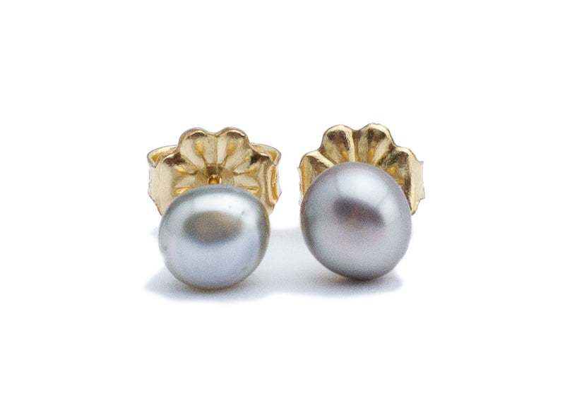 Button Tahitian Keshi Pearl Stud Earrings