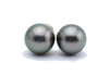 Subtle Peacock Tahitian Pearl Statement Stud Earrings