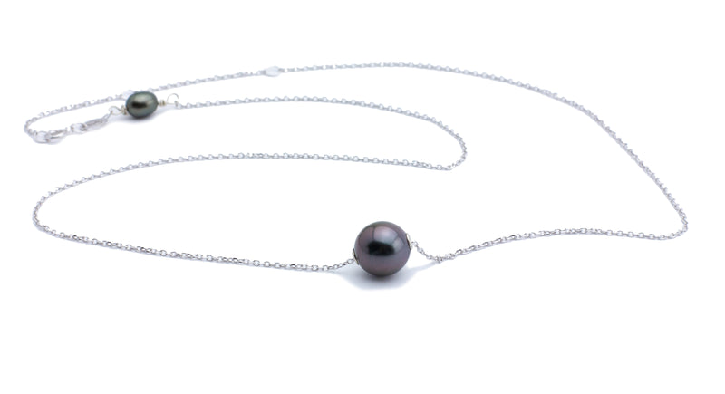 9mm aubergine Tahitian pearl on sterling silver chain
