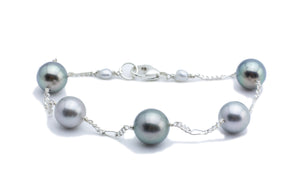 Tahitian pearl and sterling silver tin cup bracelet blue and green