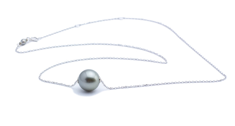 Light Silvery Tahitian Pearl Solitaire Necklace