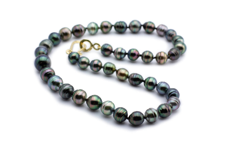 Tahitian pearl circled baroque necklace strand 20 inches