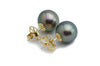 10.5mm light green peacock Tahitian pearl stud earrings Kamoka