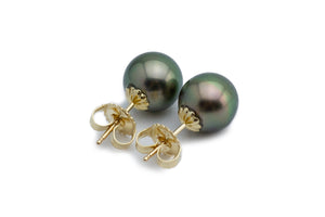 Peacock green Tahitian pearl stud earrings 9.5mm Kamoka