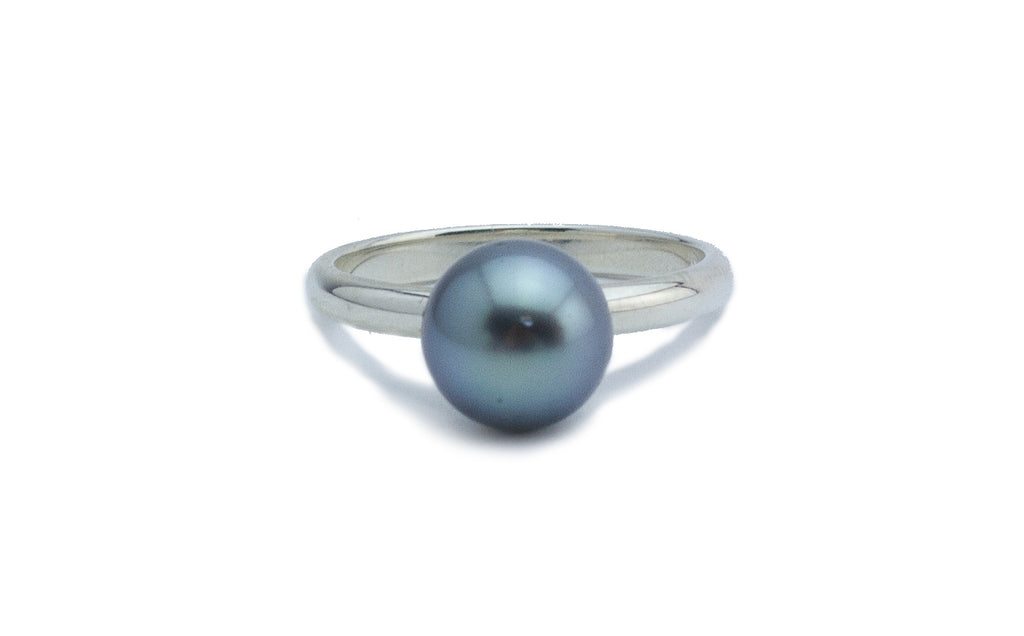 Stormy Blue-Green Tahitian Pearl Ring