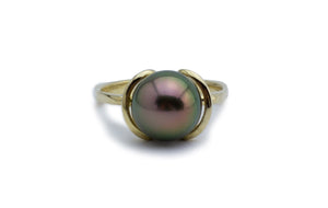 Cherry peacock Tahitian pearl ring 10mm