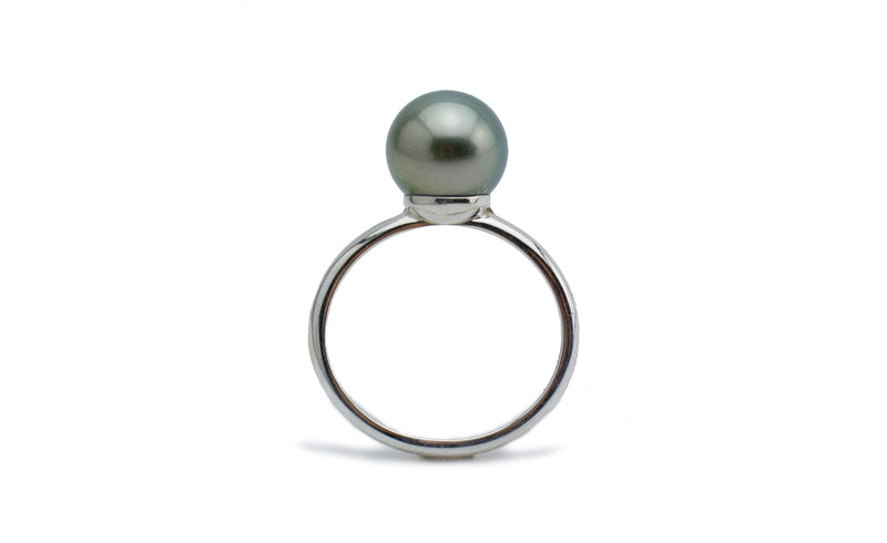 Stormy Golden-Green Tahitian Pearl Ring