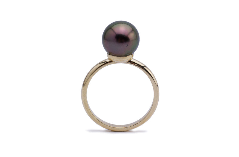 Dark cherry Tahitian pearl ring 10mm