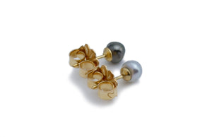 Tiny Black & White Keshi Pearl Stud Earrings