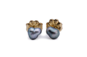 Silvery Pear Keshi Pearl Stud Earrings