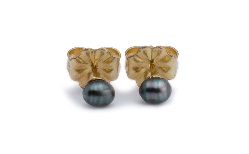 Tiny Dark Green Oval Keshi Pearl Stud Earrings