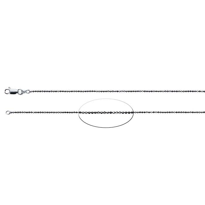 Sterling Silver Black Ruthenium-Plated 1.1mm Diamond-Cut Bead Chain with Black Accents