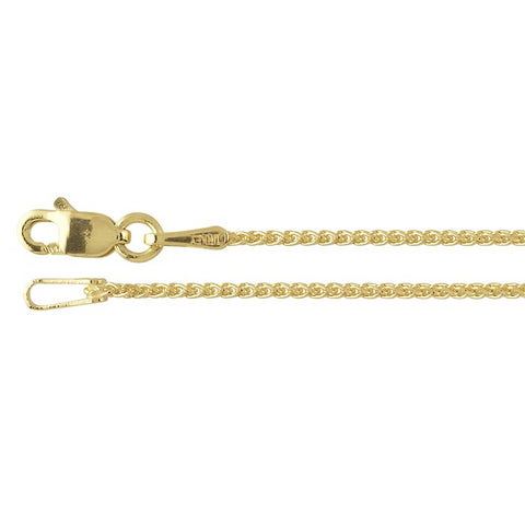 14K Yellow Gold 1mm Wheat Chain