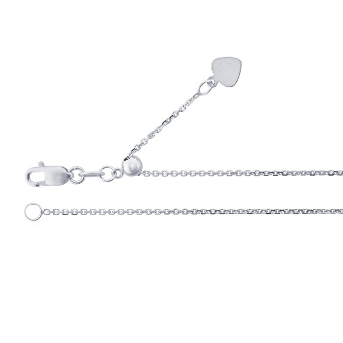 14K White Gold Adjustable Chain