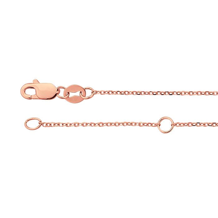 14K Rose Gold .9mm Adjustable Diamond Cut Cable 16-18