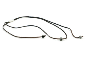 Triple Tahitian pearl deer leather lace wrap necklace