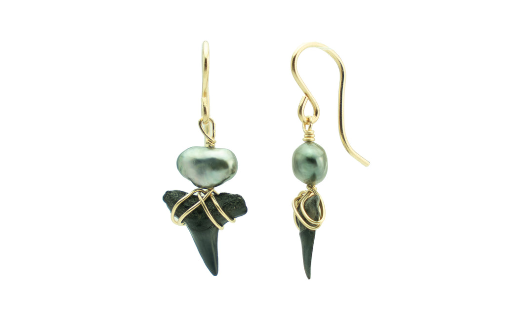 Tahitian keshi pearl black fossil shark teeth earrings