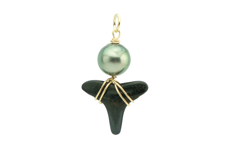 Tahitian green pearl black fossil shark tooth pendant