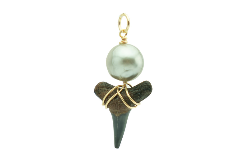 Tahitian baroque pearl black fossil shark tooth pendant