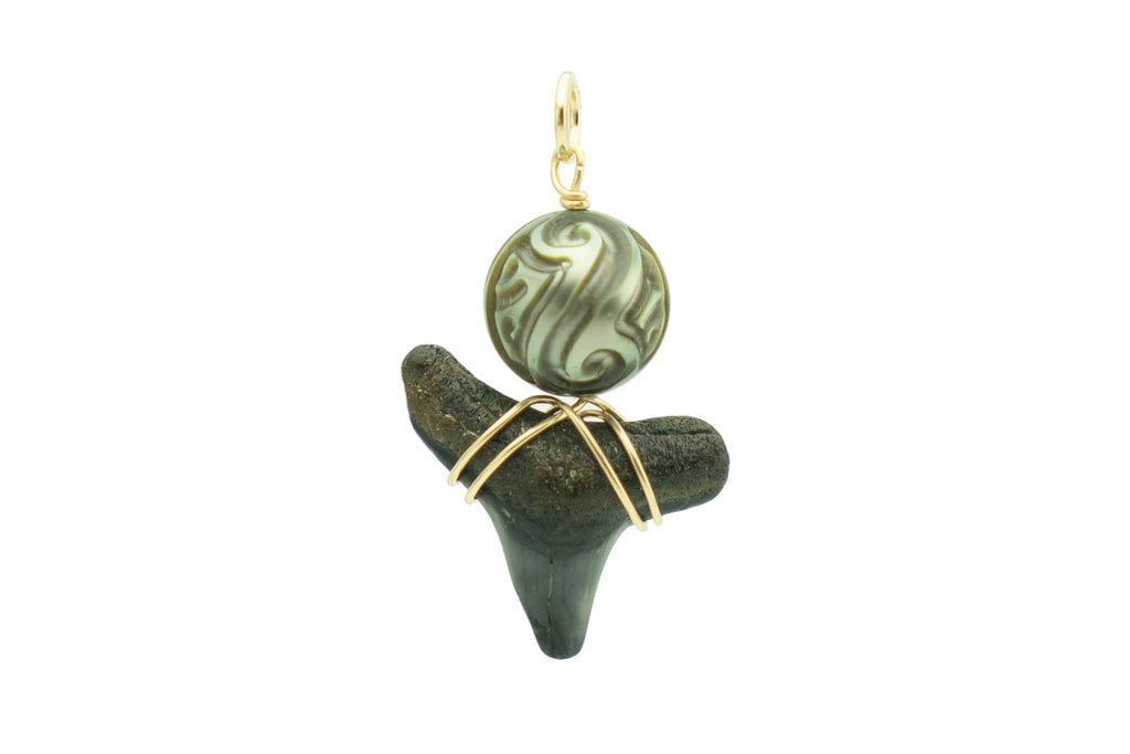 Tahitian carved pearl black fossil shark tooth pendant