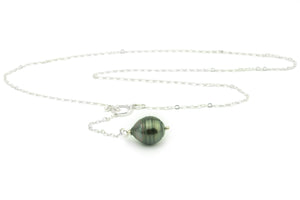 Tahitian pearl circled drop pearl 14mm Sterling silver lariat