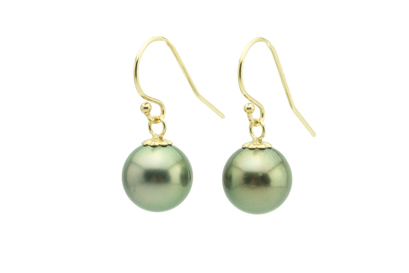 Golden green 9mm Tahitian pearl dangle hook earrings