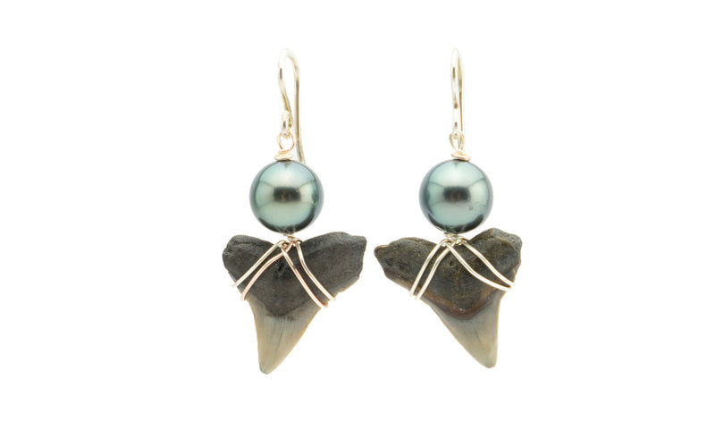 Tahitian pearl black fossil shark teeth earrings