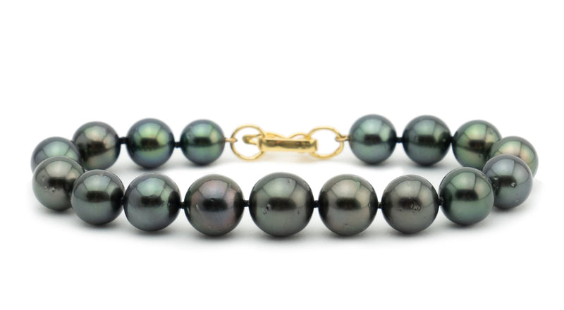 Tahitian dark black pearl bracelet 8mm to 10.5mm round