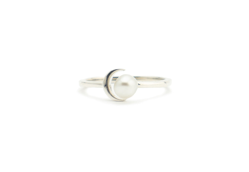 White Tahitian Keshi Crescent Moon Ring