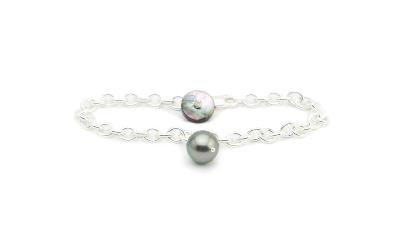 Round Tahitian Pearl Charm Bracelet