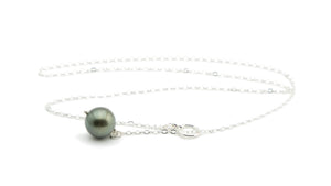 14mm round dark Tahitian pearl lariat necklace