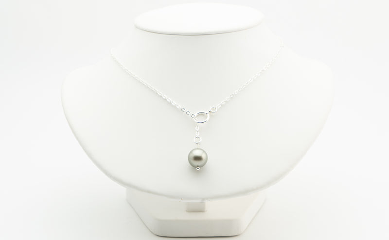 Light silver round Tahitian 13mm pearl lariat necklace