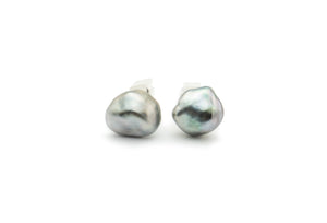 Tahitian keshi pearl cuff links 14mm