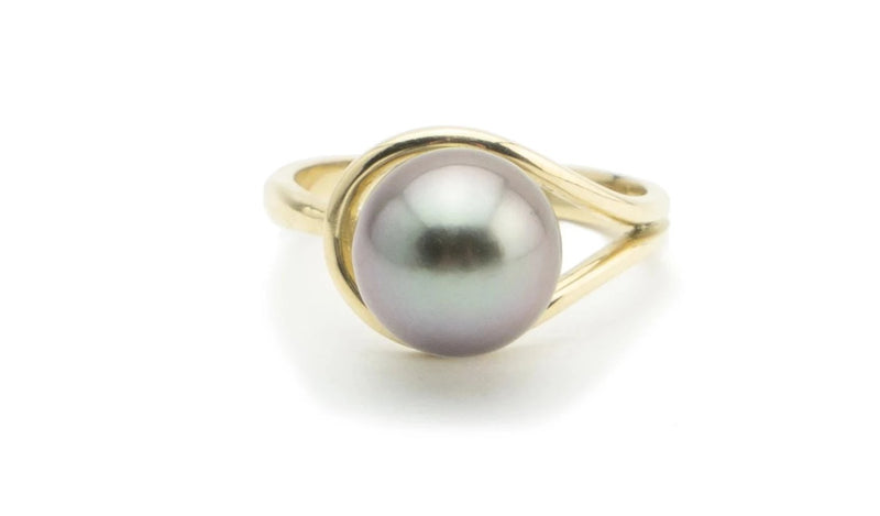 Lavender Tahitian pearl teardrop ring 10mm