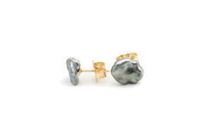 Crinkle cornflake Tahitian keshi pearl stud earrings