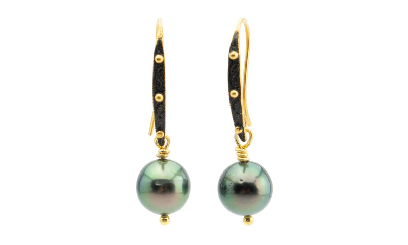 Bright peacock green Tahitian pearl and 18K gold dangle earrings