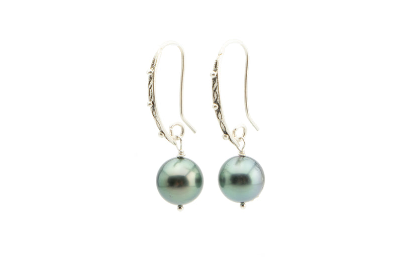 Silvery blue green Tahitian pearl and Sterling silver dangle earrings