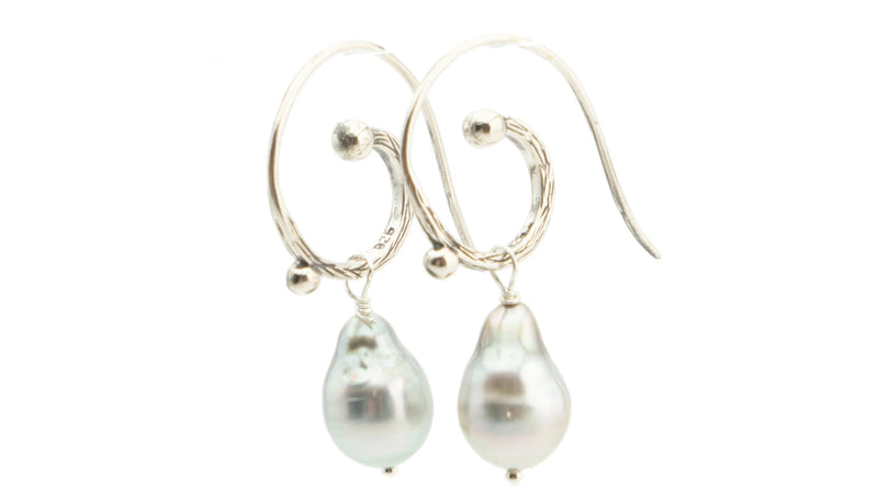 Tahitian baroque pearl drop swirl hoop earrings