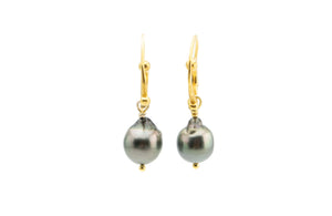 Tahitian baroque pearl drop swirl hoop earrings 18K gold